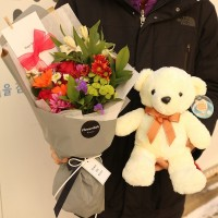 Flower of the day Flower Gift Korea and Teddy Bear