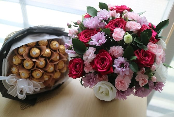 Flowers and Chocolate bouquet at Flower Gift Korea