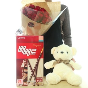 Pepero Gift and Flowers in Korea