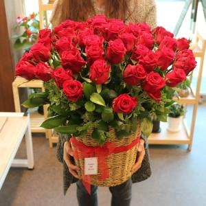 Korea Flower Delivery Rose Basket 55 Premium Roses