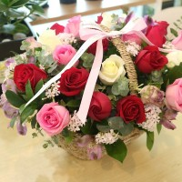 Flower Shop Seoul Delivery Gift Large Mixed Rose Basket