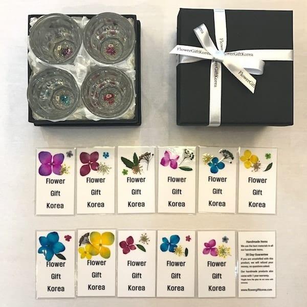 Real Flower Soju Glass Gift Set By Flower Gift Korea
