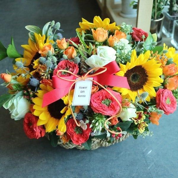 Korea Sunflower Fire Basket Delivery