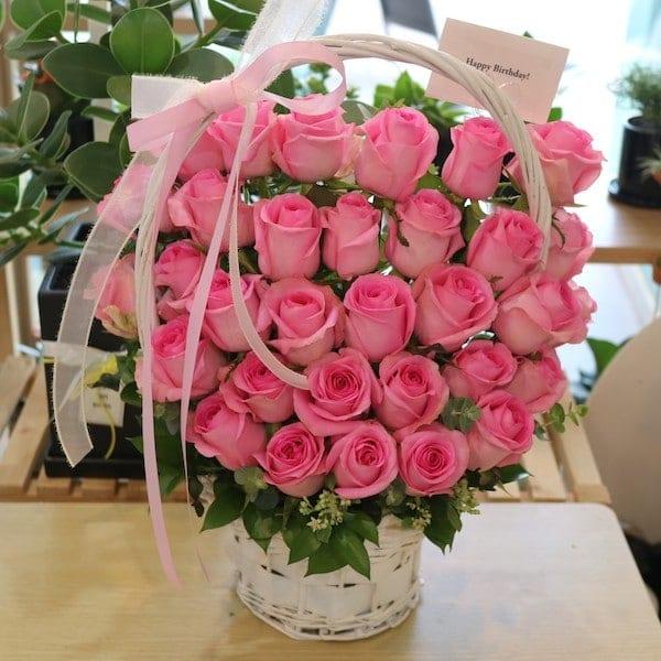 Pink Paradise Pink Rose Basket Korea