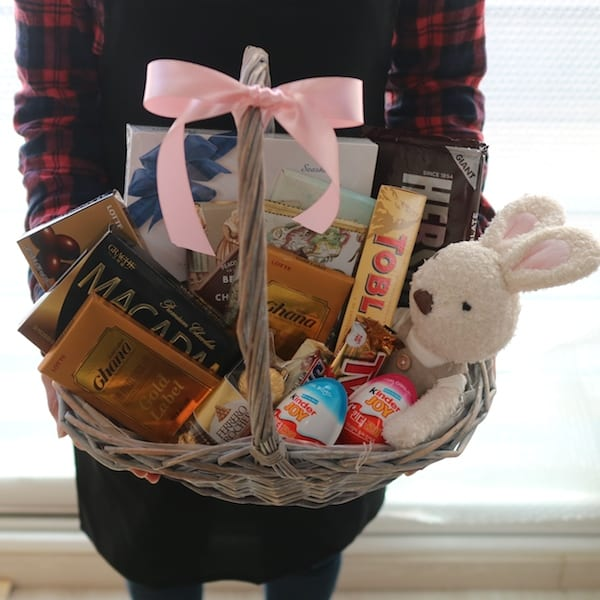 Flower Gift Korea Chocolate Basket and Stuffed Toy