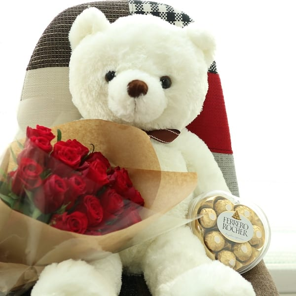 Big Bear + Rose Bouquet + Ferroro Rocher - Flower Gift Korea - 330+ ...