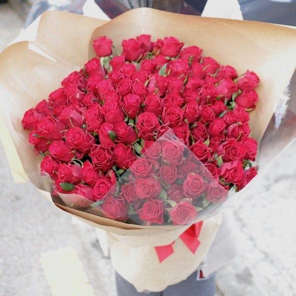 Long Stem Rose Bouquet (100) - Flower Gift Korea - 330+ 5 Star ...