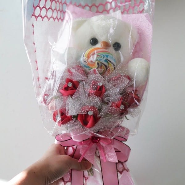 Artificial Flower Teddy Bear A Pink - Flower Gift Korea - 330+ 5 ...
